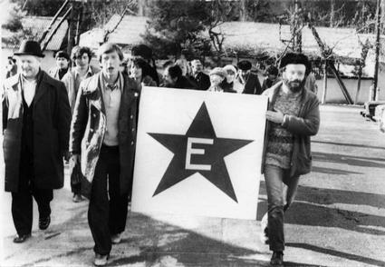 Esperanto-demonstracio en Varzobo, 1982